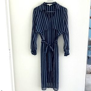 J.O.A. Shirt Dress Navy/White Striped Size XS